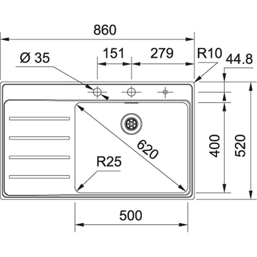 Evier Franke Frames Inox Slimtop  FSX211TPL