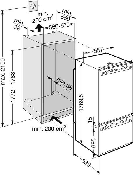 r frig rateur combin int grable liebherr sicn3356 electromenager grossiste. Black Bedroom Furniture Sets. Home Design Ideas